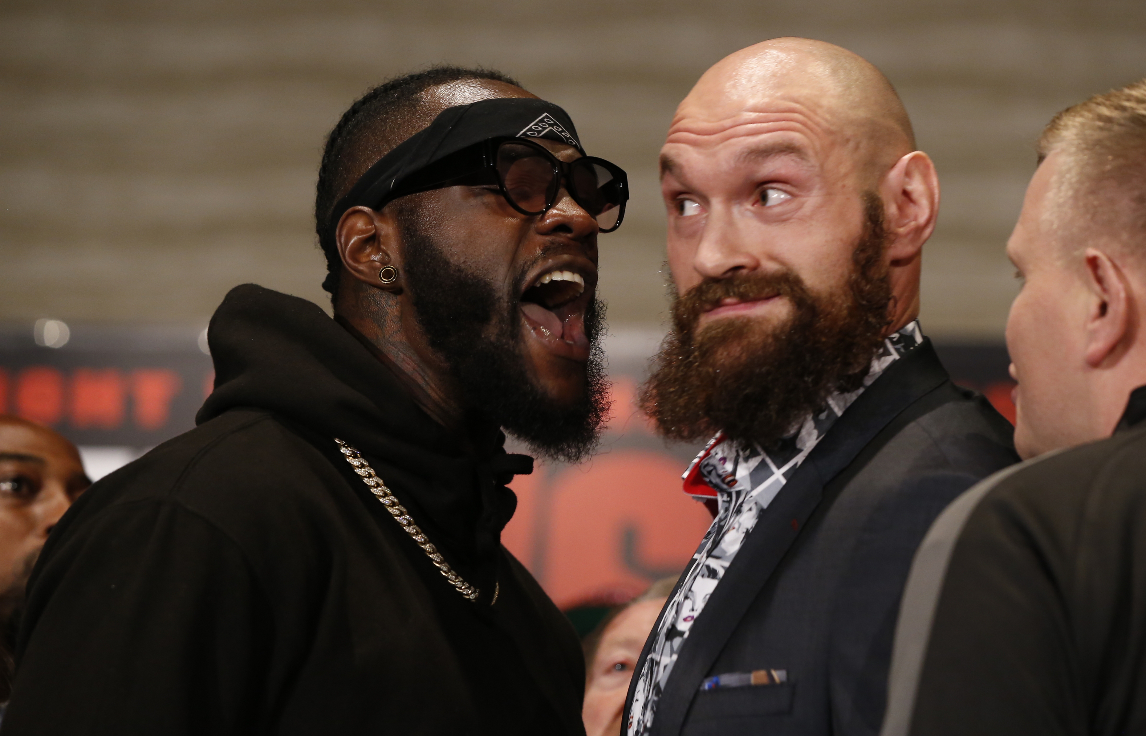 Wilder screaming at Fury but it was him who started the shoving. Image: PA Images