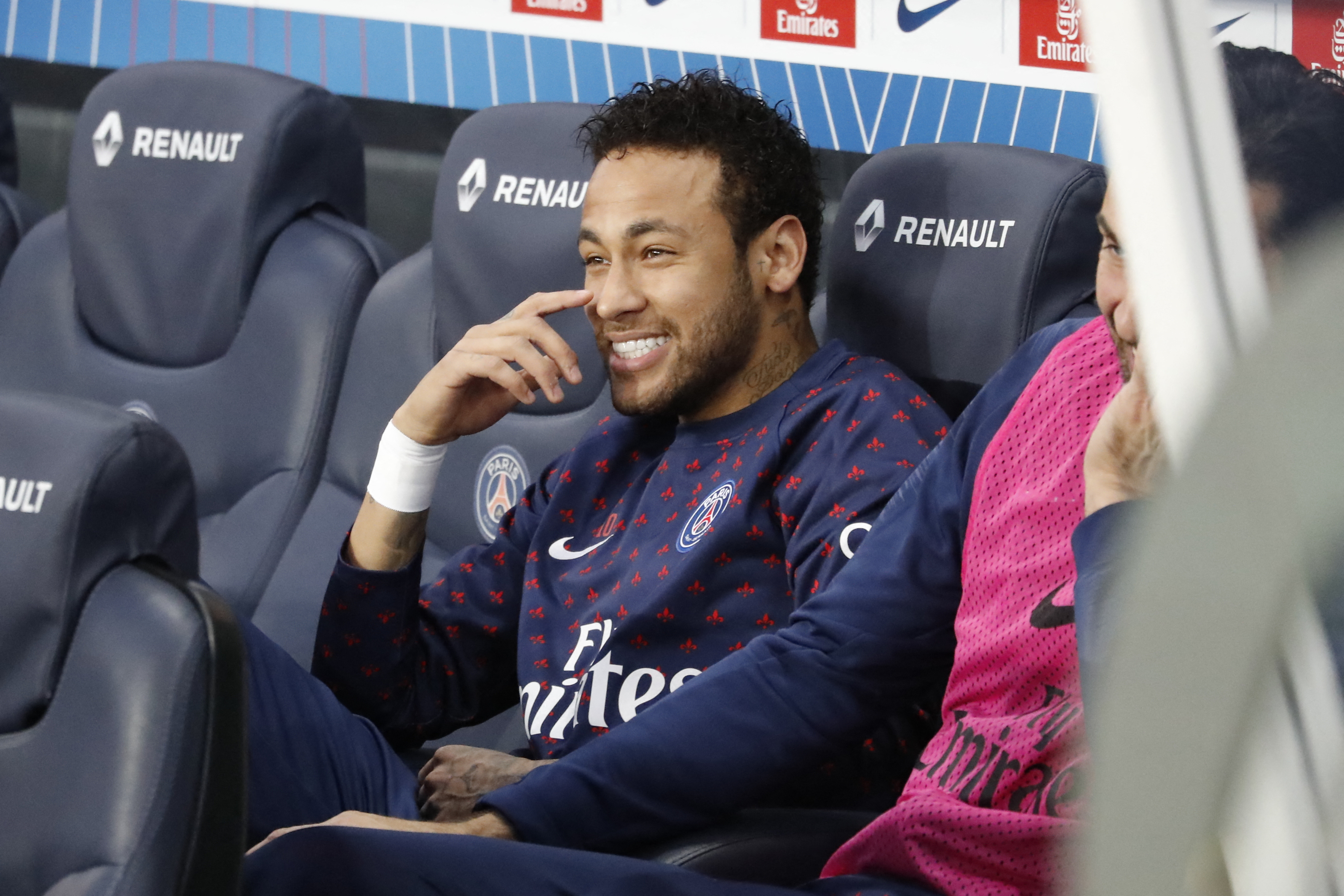 Neymar reacts to the news he's going back to Barcelona. Image: PA Images