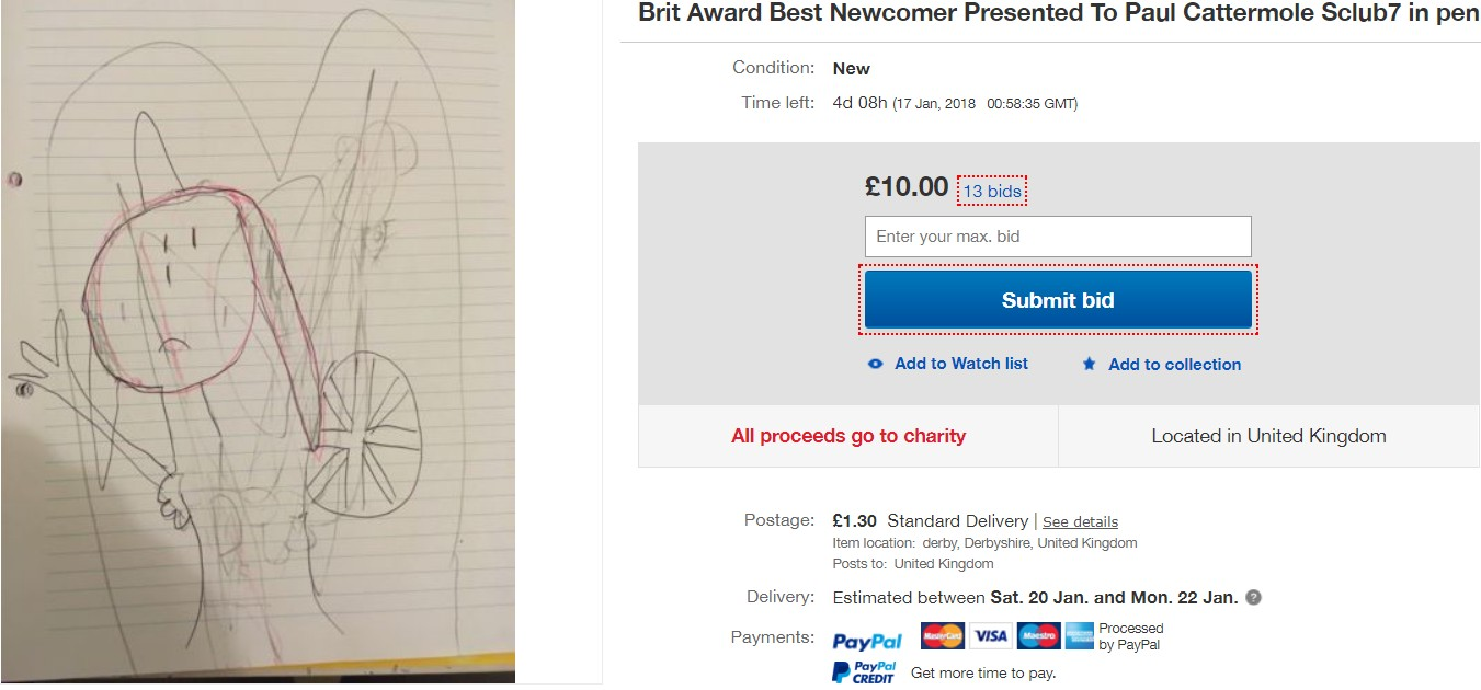 Brit Award Best Newcomer Presented To Paul Cattermole Sclub7 in pen by a 12yold. Credit: eBay: furnes35