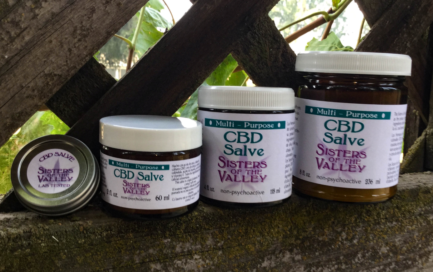 The sisters' CBD products. Credit: SWNS