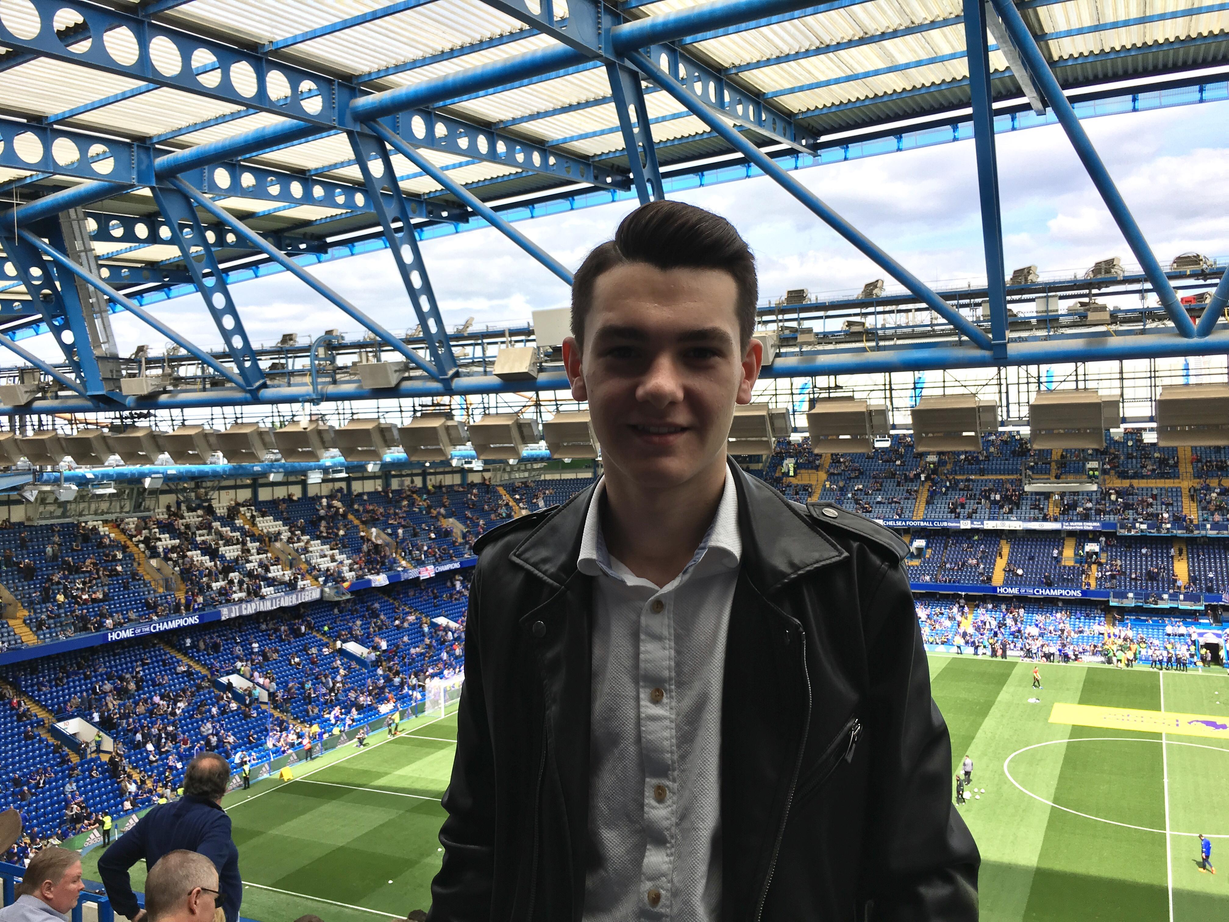 Ben has been enjoying trips to Stamford Bridge to watch Chelsea FC. Credit: Ben Towers