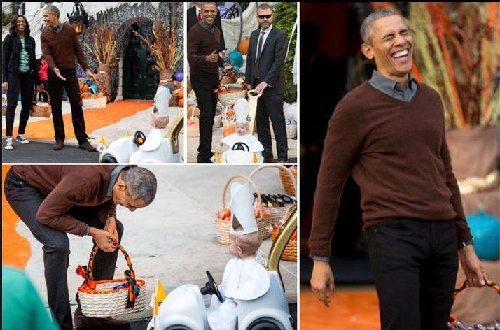Who could forget the time Barack couldn't control his laughter over a baby dressed as the Pope.