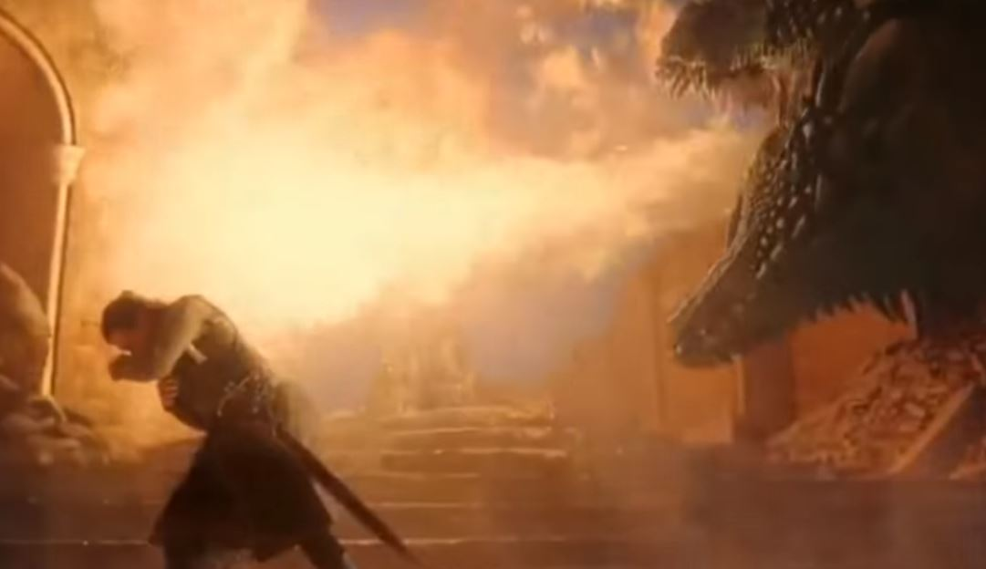 Drogon made sure he finished the throne off before he left. Credit: HBO