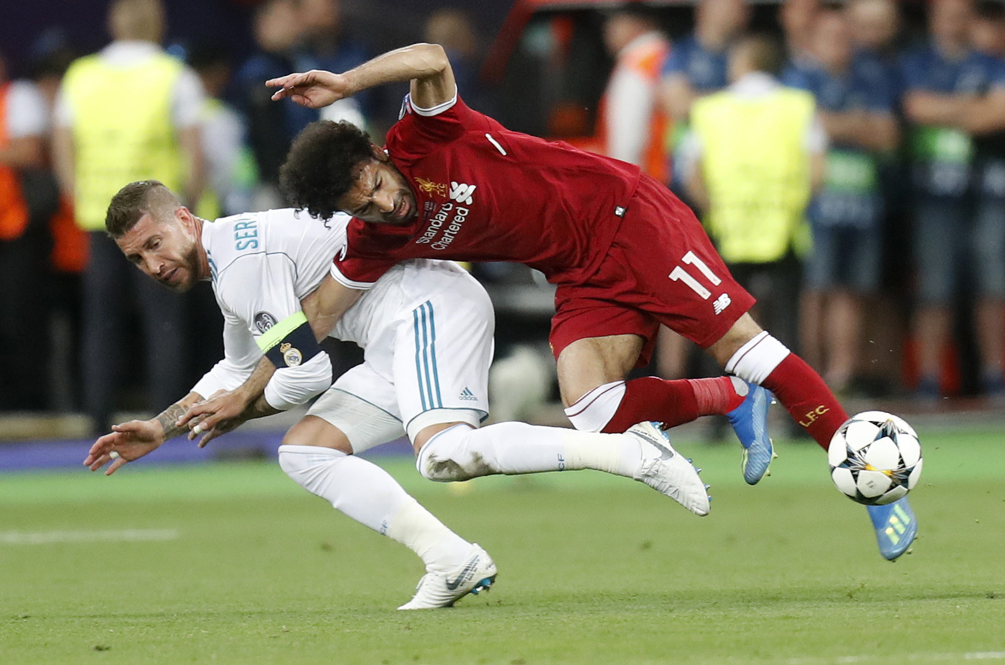 Of course Salah's time in the final didn't last long. Image: PA Images