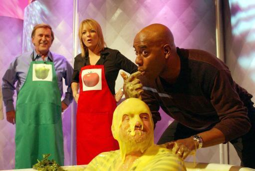 TV chef Anthony Worrall-Thompson, gets gunged by fellow chef Ainsley Harriott. Credit: PA