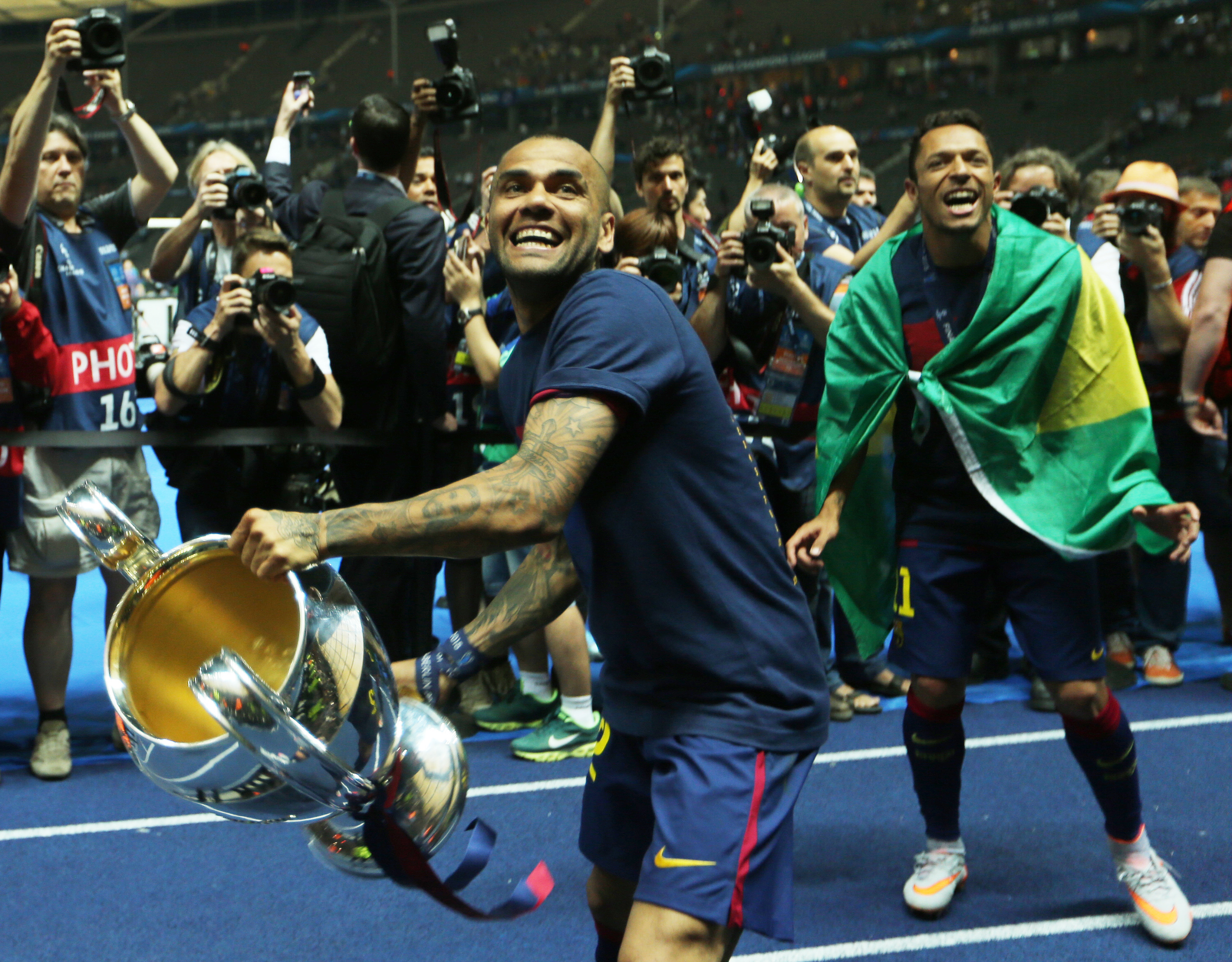 Alves winning the Champions League with Barcelona. Image: PA Images