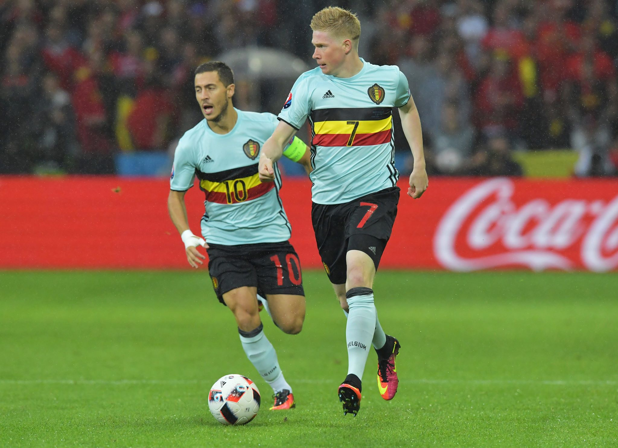 Hazard and De Bruyne in action for Belgium during Euro 2016. Image: PA