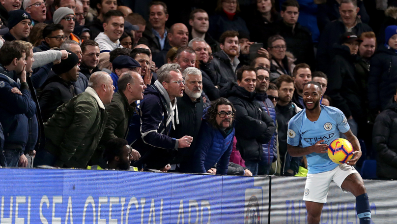 Chelsea fans abuse Sterling. Image: PA Images
