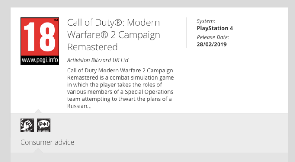 PEGI Rating Listing Confirms Call Of Duty Modern Warfare 2 Campaign Remastered