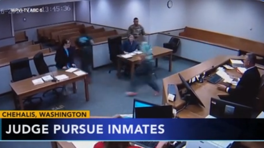 Judge Chases Prisoners Who Ran From Court Room