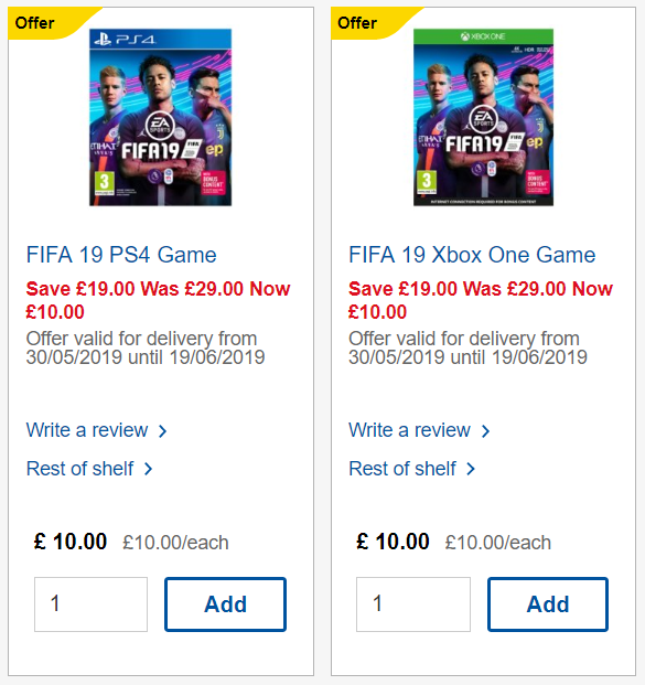 Tesco is selling FIFA 19 for just £10. Credit: Tesco