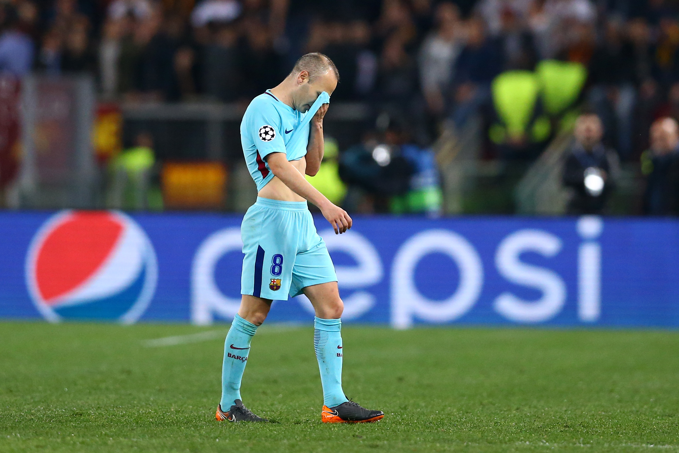 Iniesta heartbroken after what is likely to be his final Champions League game. Image PA Images
