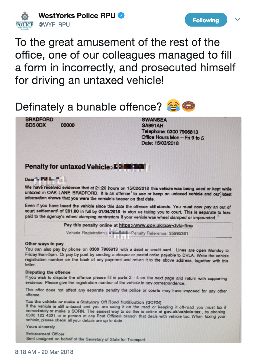 Police Officer Accidentally Gives Himself A Ticket - LADbible