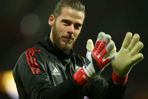 De Gea during tonight's warm-up. Image: PA