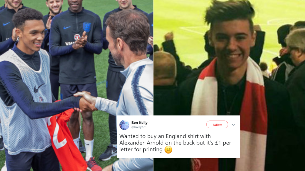 England Fan Didn't Get 'Alexander-Arnold' On The Back Of His Shirt, So The Man Himself Replied