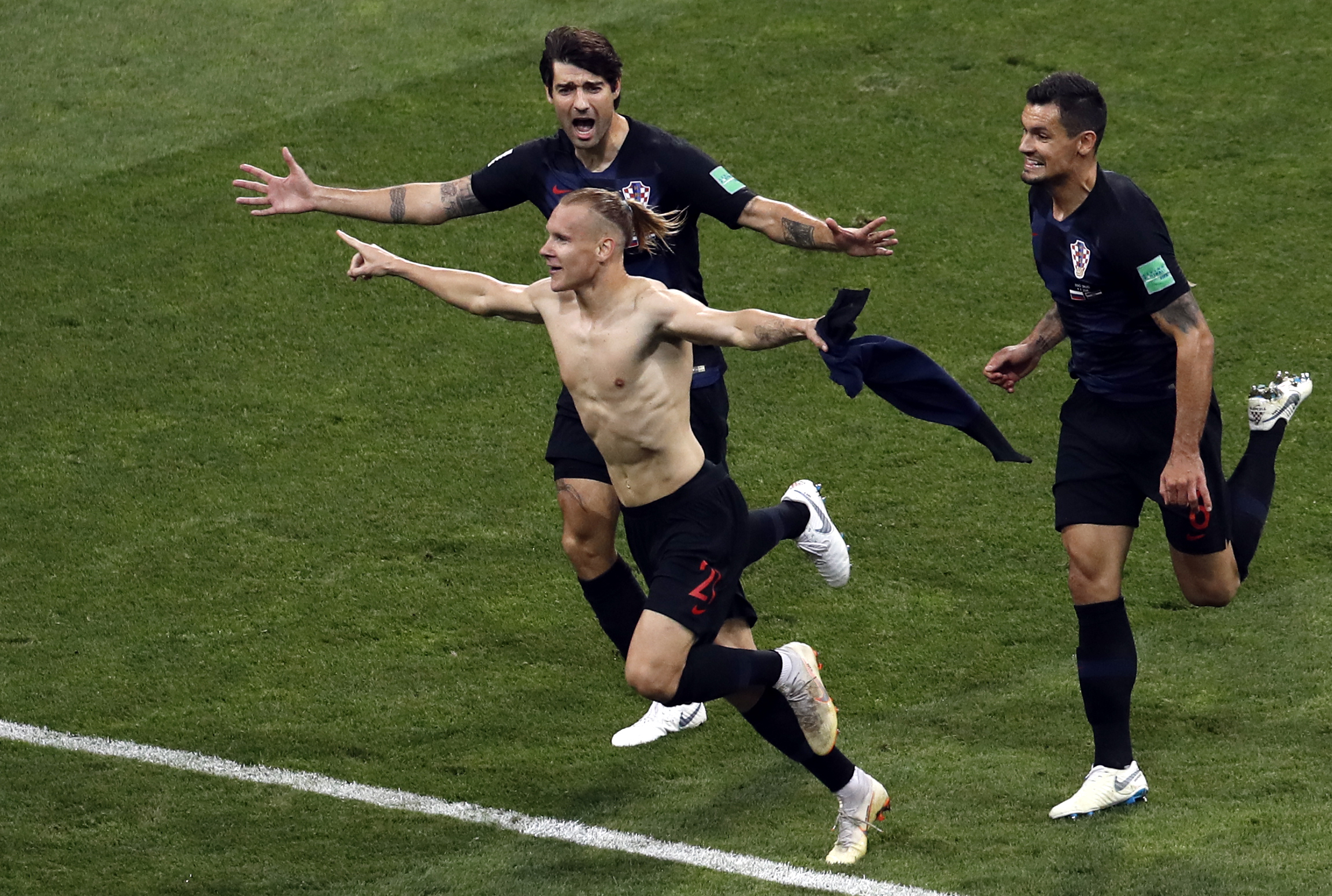 Domagoj Vida celebrating his goal. Credit: PA