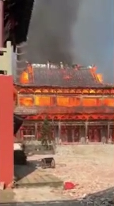 Monastery burning