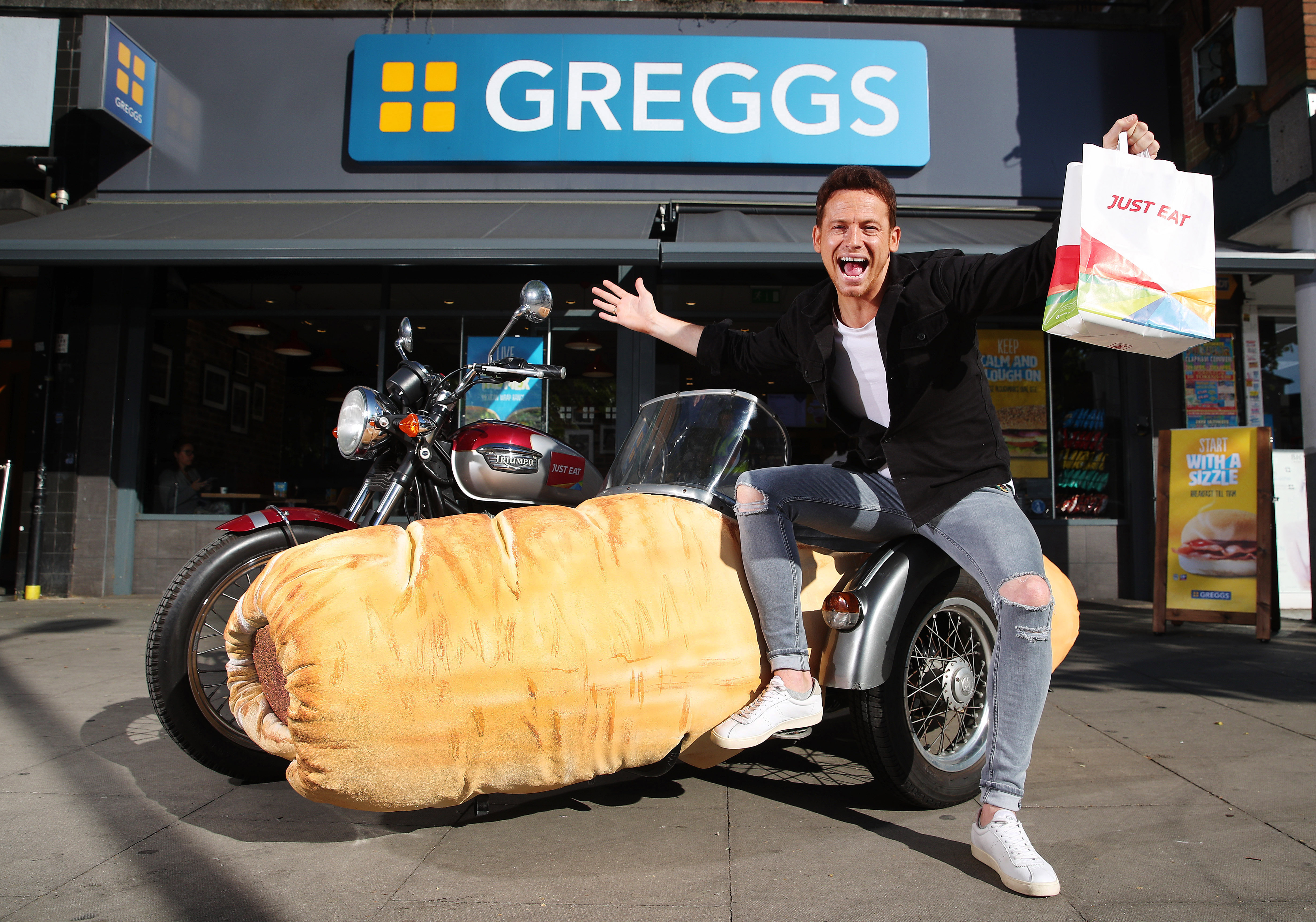 Joe Swash is delighted with the new partnership between Greggs and Just Eat. Credit: Taylor Herring