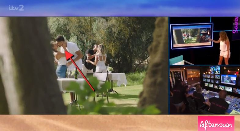 Footage shown on 'Love Island: Aftersun' of Wes and Megan kissing AS Georgia and Jack are. Credit: ITV2/Love Island: Aftersun