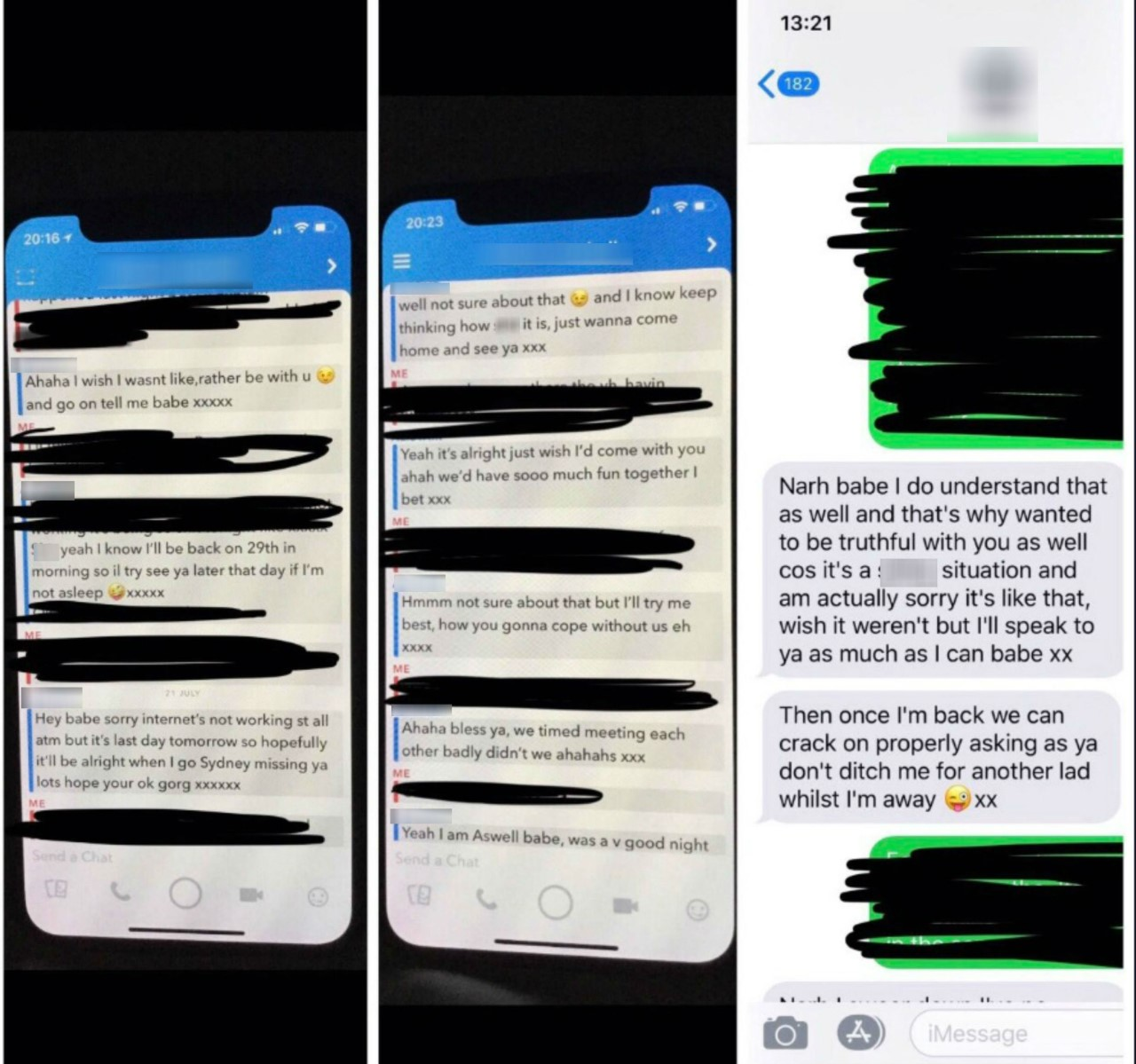 The messages were being sent while Emily was on holiday with her now ex-boyfriend. (Credit: Deadline News)
