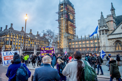 Protesters rally outside parliament in Westminster. Credit: PA