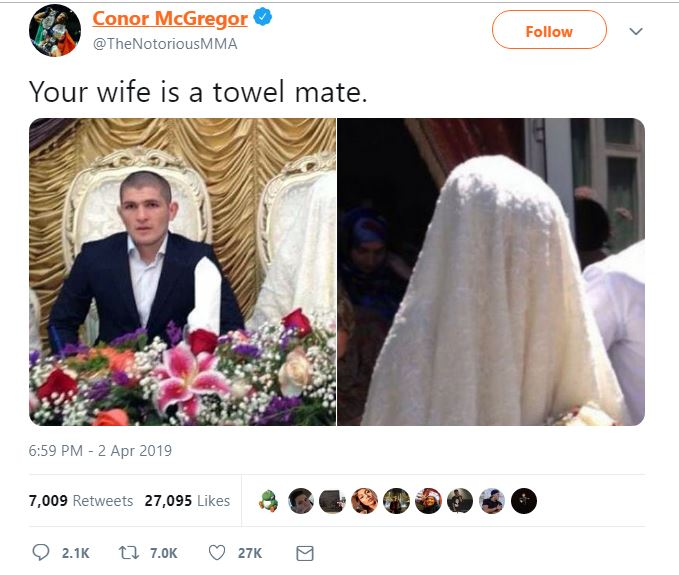 Conor McGregor's now-deleted tweet. Credit: Twitter