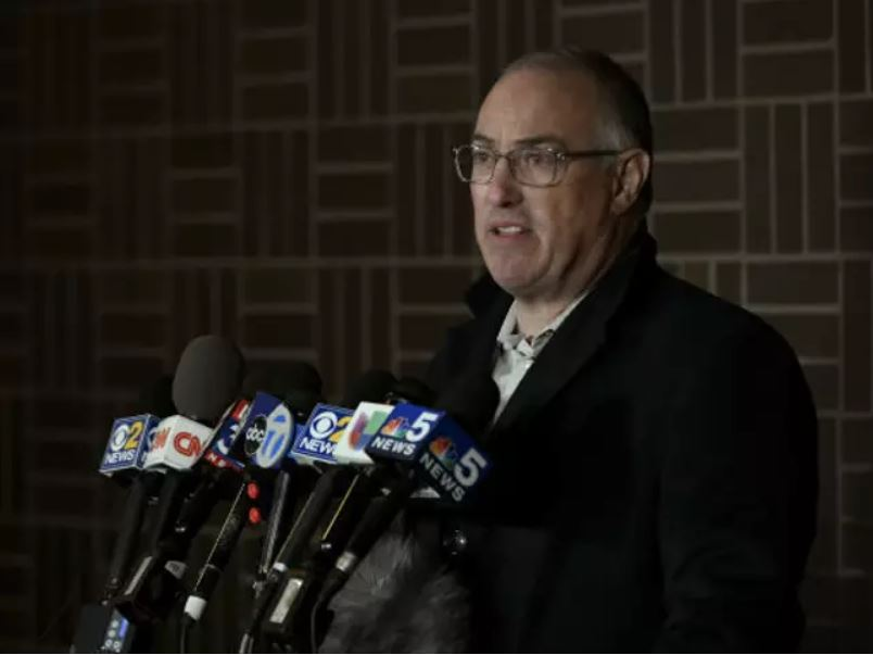 Kelly's attorney Steve Greenberg speaks to the media after Kelly turned himself in to police Friday. Credit: PA