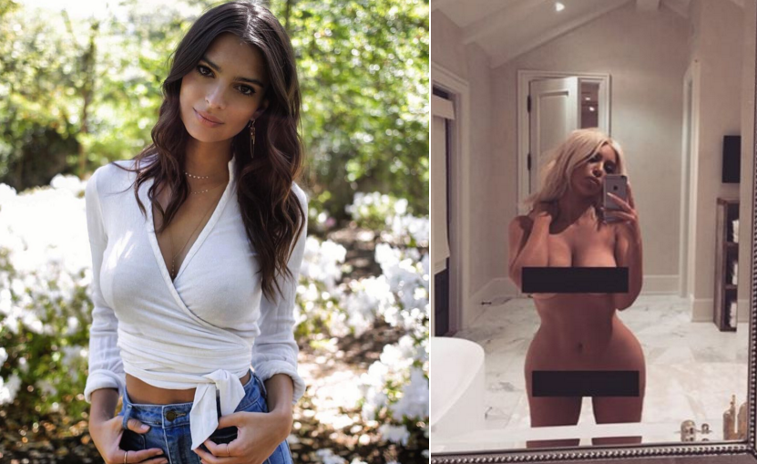 Kim Kardashian And Emily Ratajkowski Give Body Shamers The Middle Finger In Very Revealing Selfie