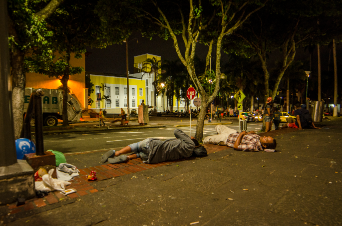 Venezuelans are forced to sleep on the streets of Colombia. Credit: PA