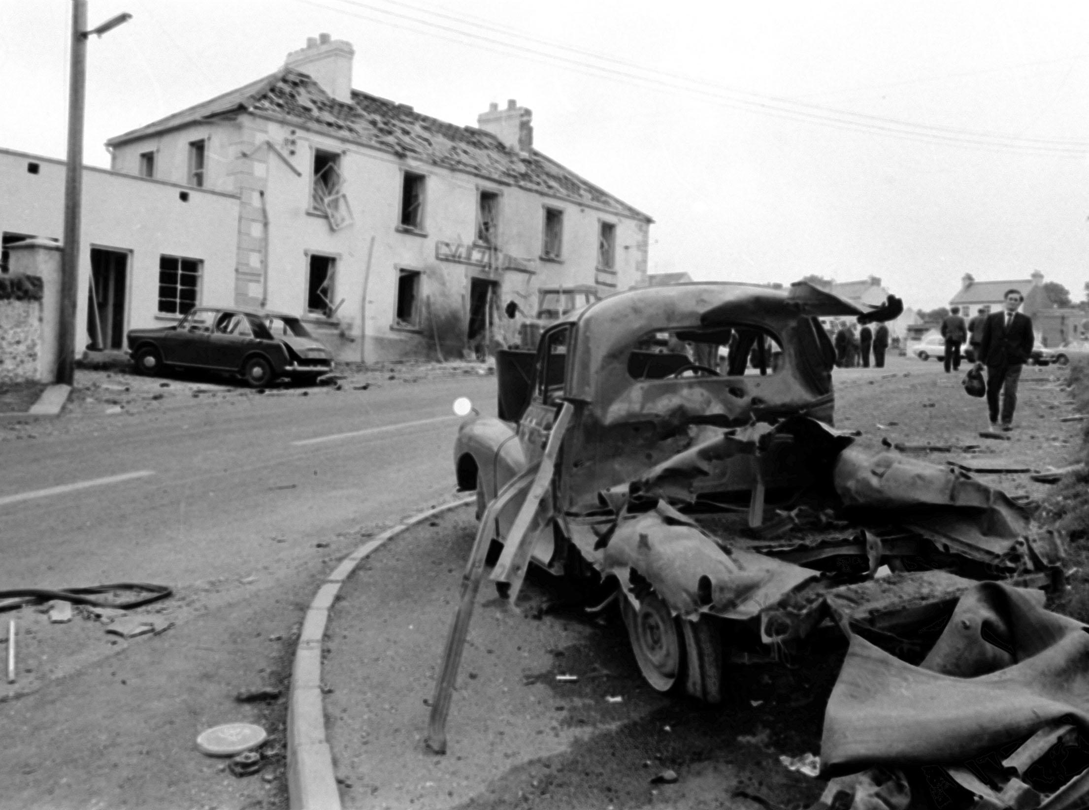 Wreckage after a bombing during the Troubles in Claudy