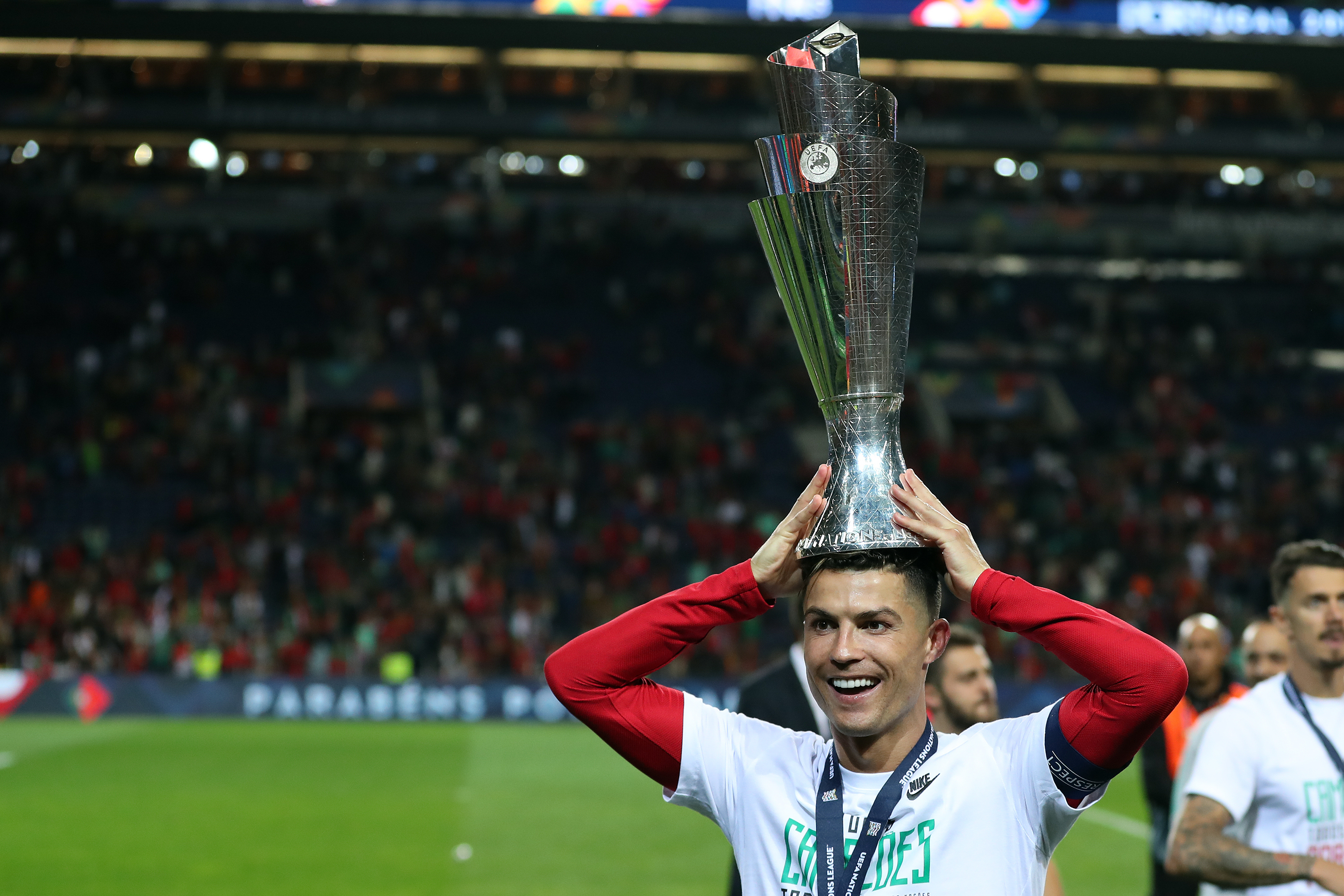 Ronaldo with the Nations League trophy. Image: PA Images
