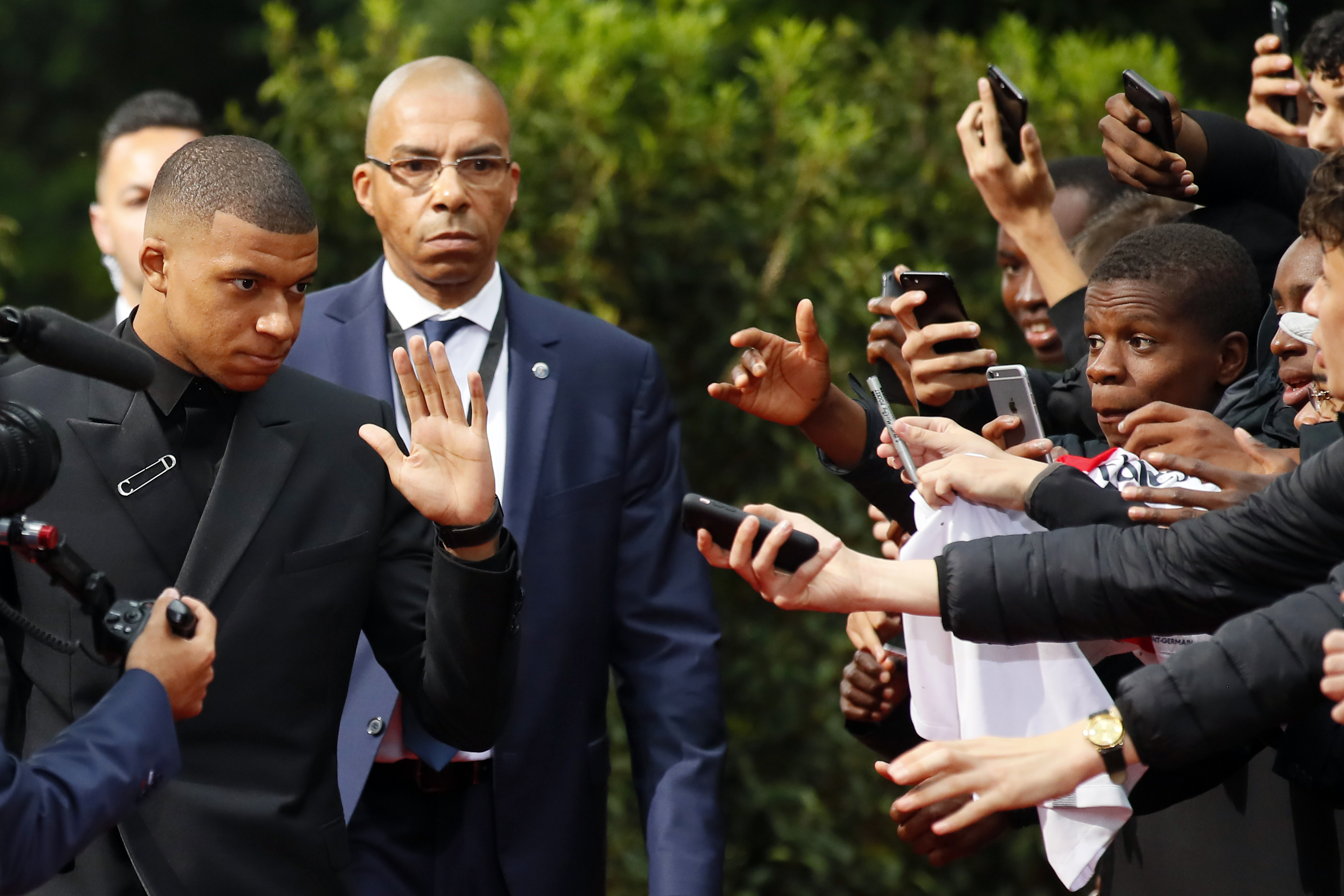 Mbappe arrives at the award ceremony. Image: PA Images