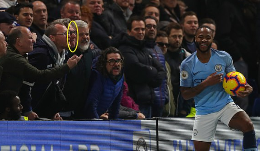 Mr Wing, circled, was caught on camera abusing Sterling, who was able to laugh it off. Credit: PA