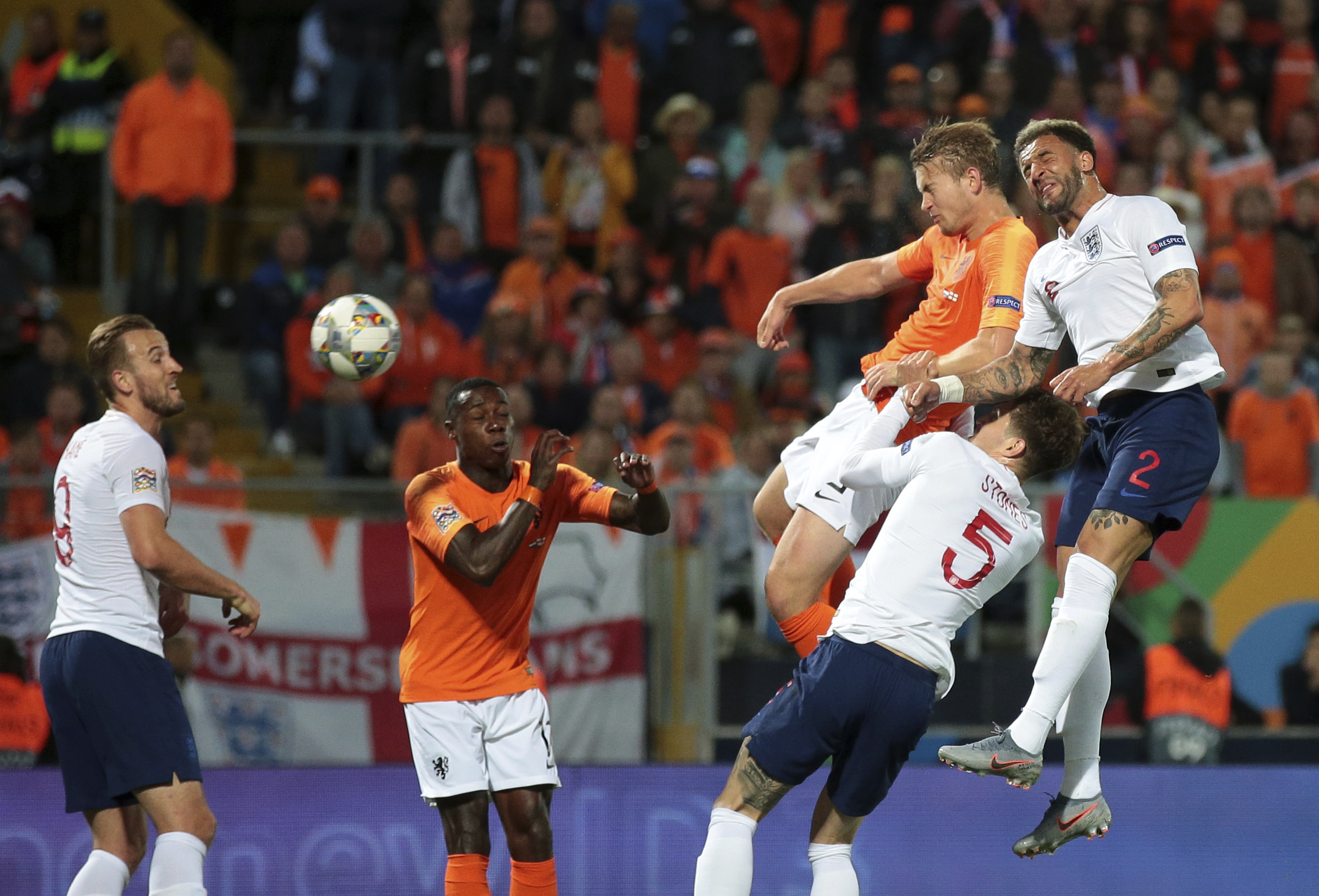 De Ligt scoring his goal against England last night (Image Credit:PA)