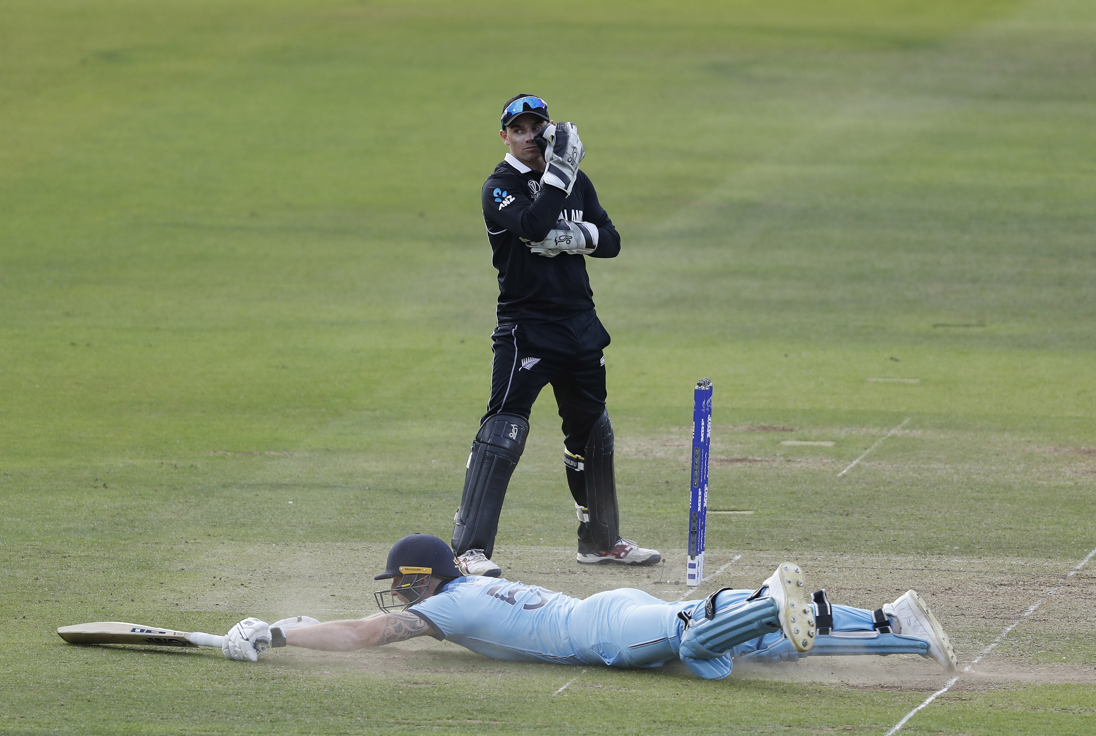 Stokes wasn't going to take another run but the ball rolled for a four. Image: PA Images