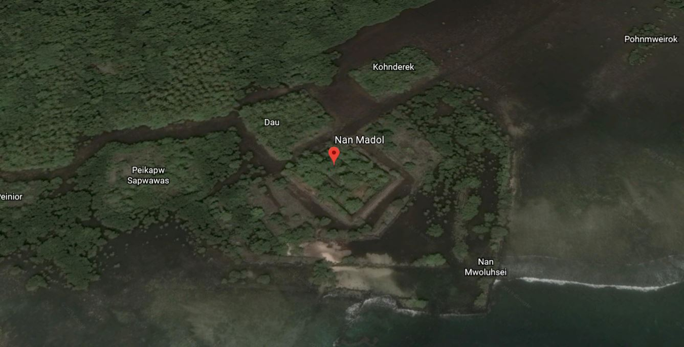 Nan Madol On Pohnpei In Pacific Ocean. Credit: Google Earth