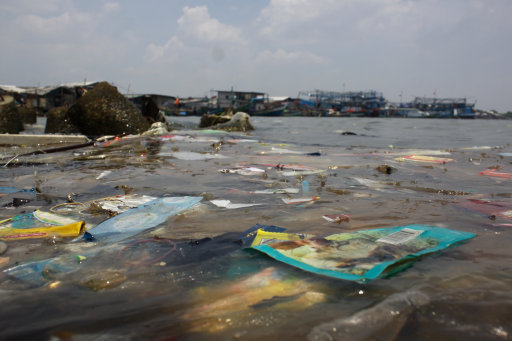 Plastic pollution in waterways. Credit: PA Images