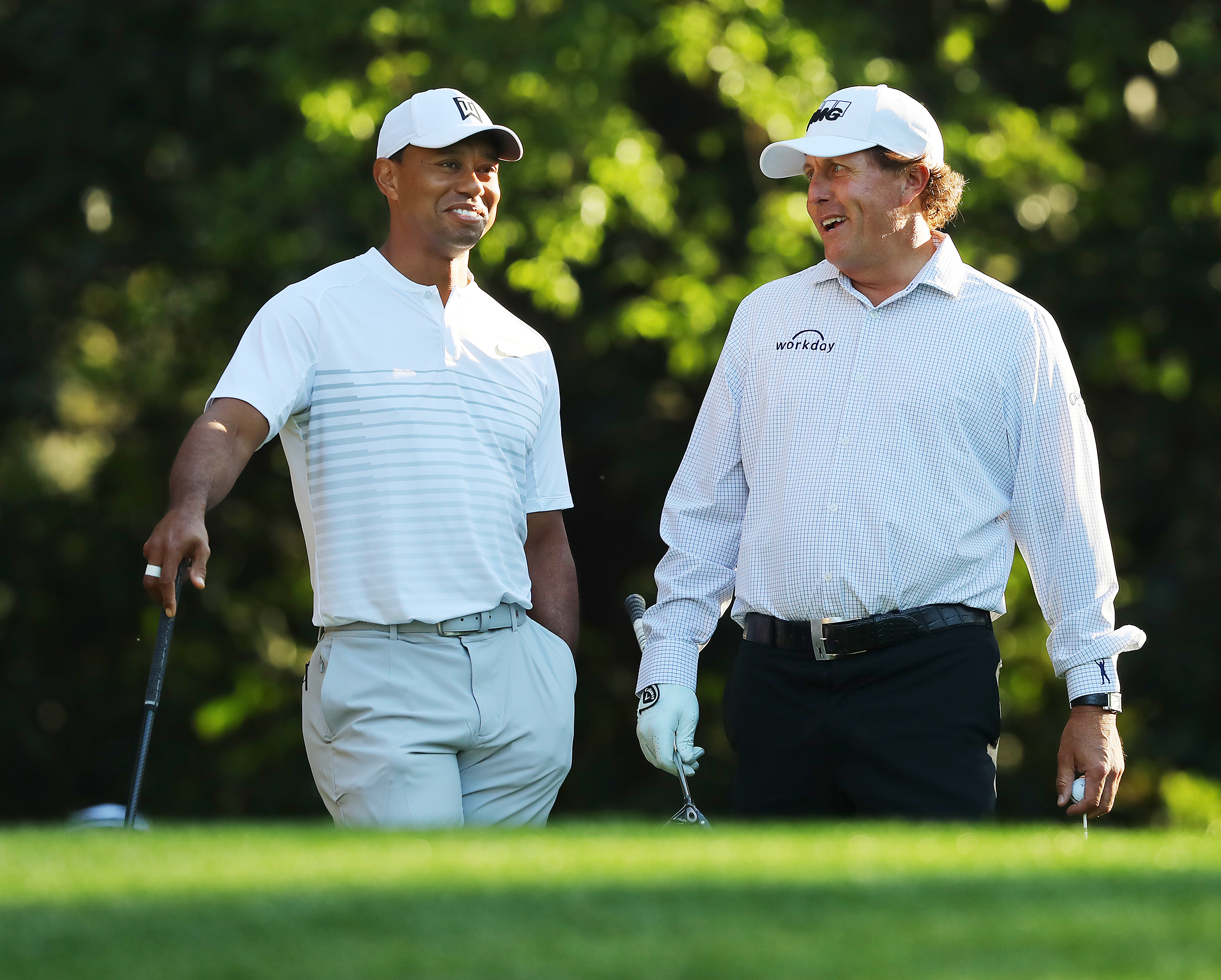 Woods and Mickelson during a practice round at Augusta earlier this year. Image: PA Images