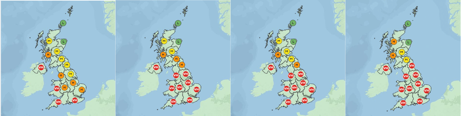 Tuesday to Thursday is looking like bad news for the hayfever crew. Credit: Met Office