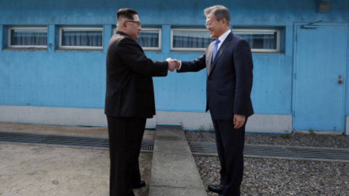Kim-Jong Un Shakes Hands With South Korean Leader In Iconic Photo At Border