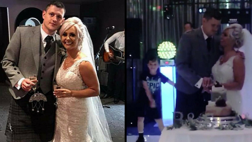 Boy Upstages His Newly-Wed Parents By Flossing As They Cut Wedding Cake