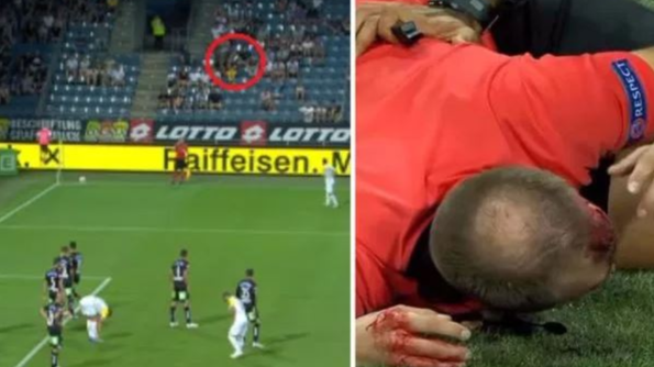 Linesman Left A Bloody Mess After Cup Was Thrown In Europa League Clash