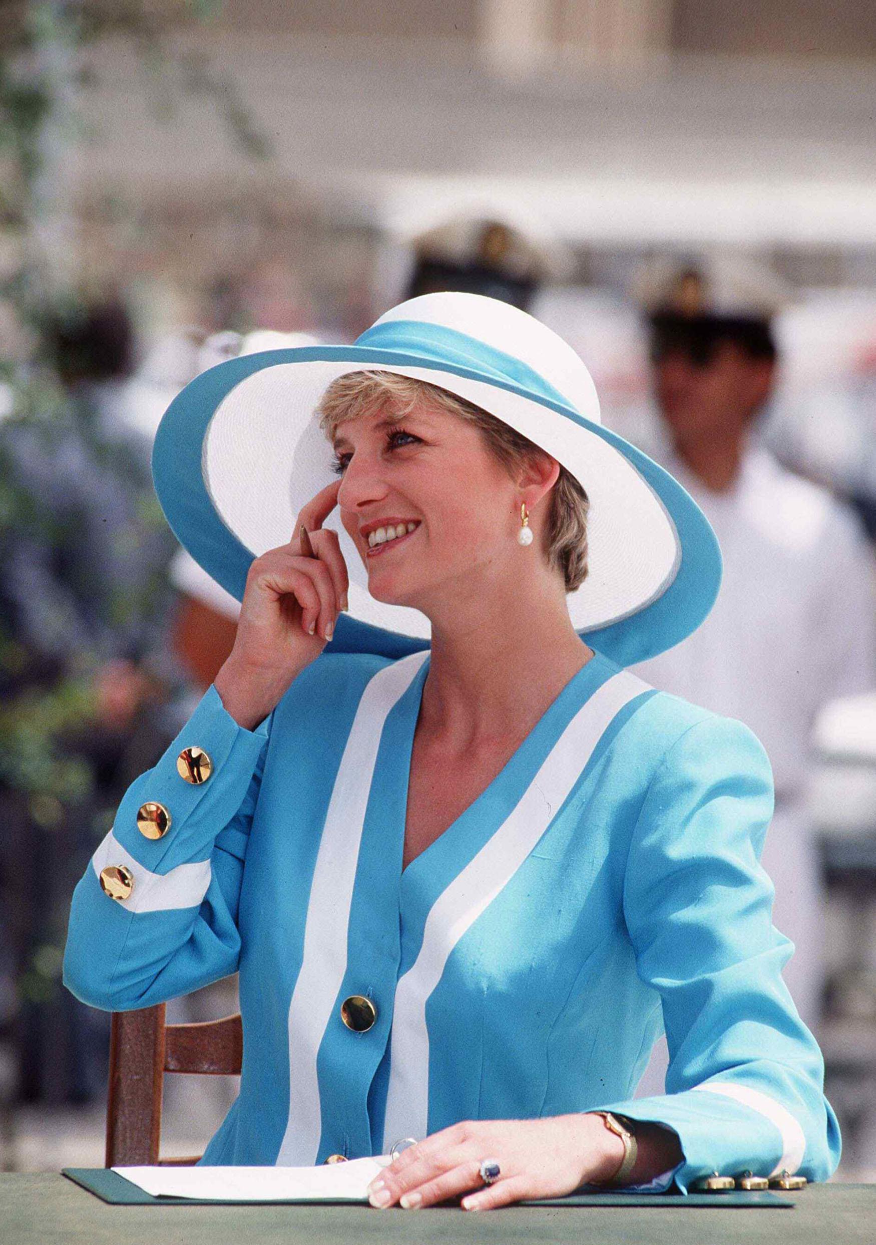 It's not clear whether Princess Diana let Alfie wipe down his cheeks with the handkerchiefs he was supposed to give her. Credit: PA