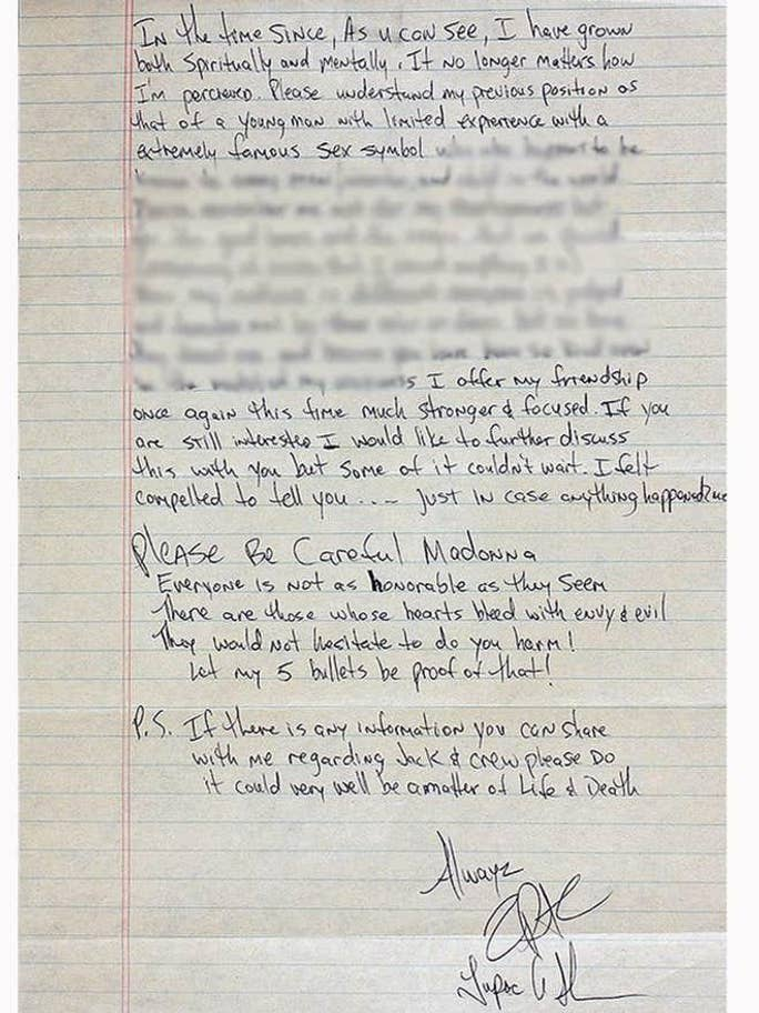 The second part of the letter from Tupac to Madonna Credit: Press Association Images / GottaHaveRockandRoll.com