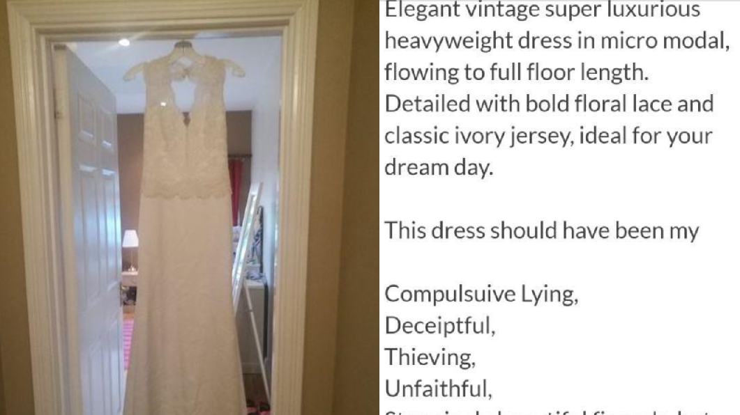 Jilted Fiance Sells His 'Cheating' Bride-To-Be's Wedding Dress Online To Pay For 'Hookers'