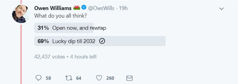 Owen Williams started a poll asking people what the family should do after his daughter received 14 years worth of Christmas presents. Credit: Twitter/@OwsWills