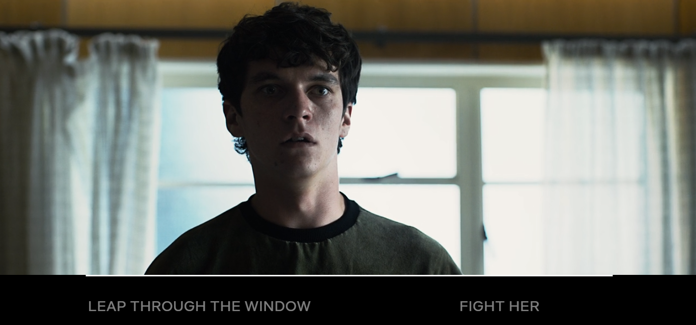 One of the 'choices' the viewer decides for Stefan after he speaks to a therapist. Credit: Netflix/Bandersnatch