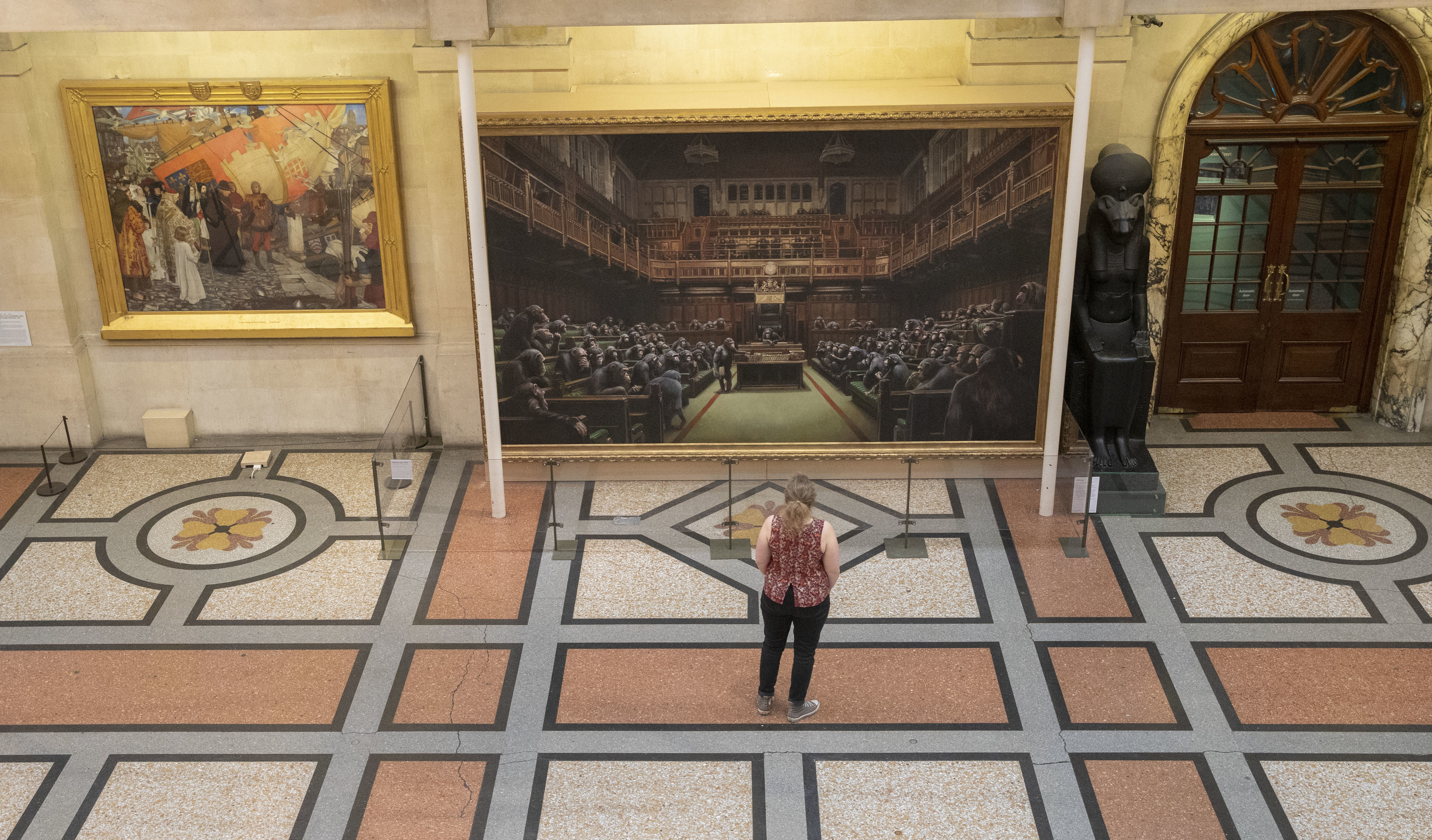 Banksy's take on the House of Commons, with all the MPs replaced with chimps. Credit: PA