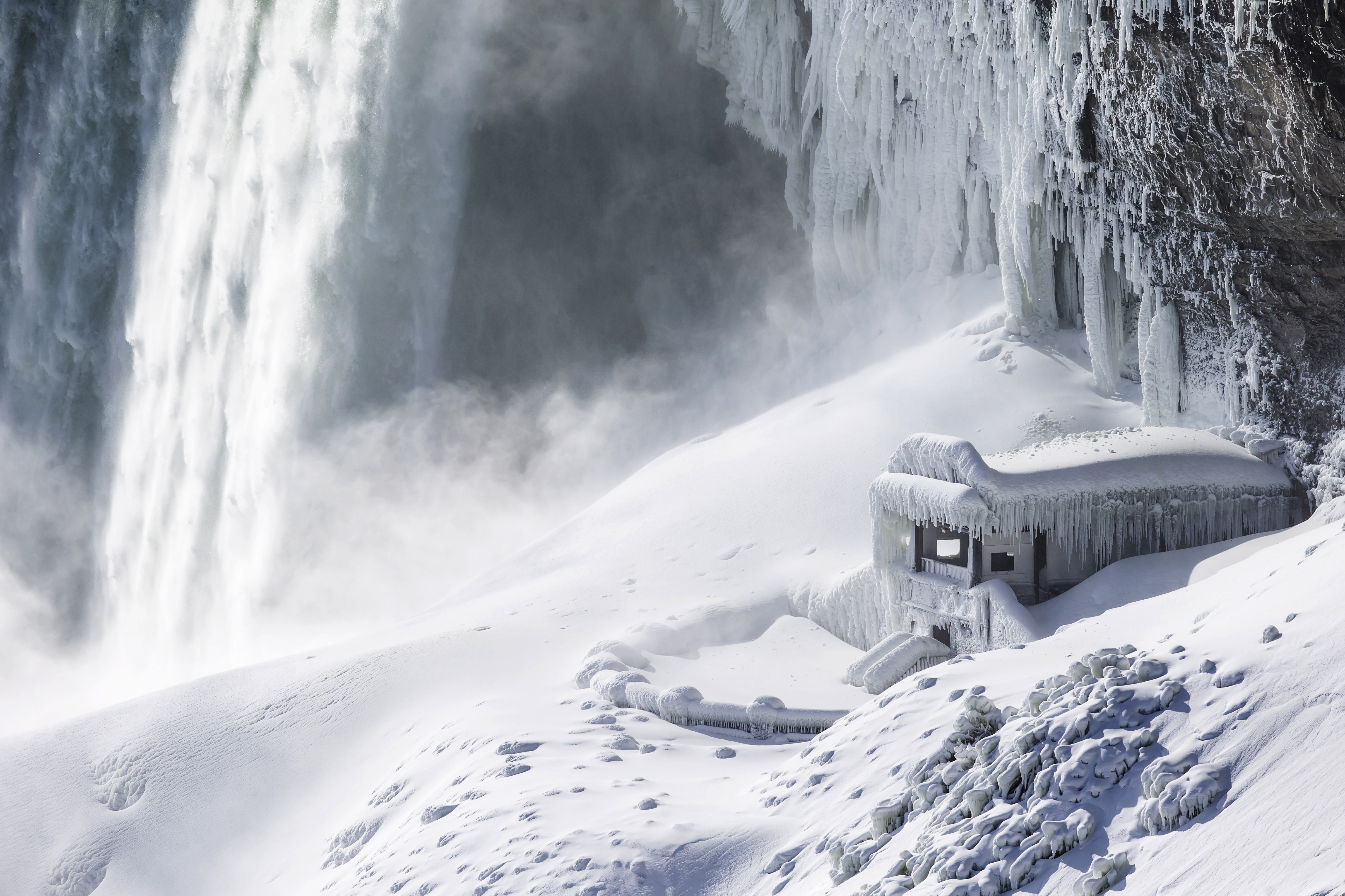 Niagara Falls hasn't been as cold as some places, but cold enough. Credit: PA