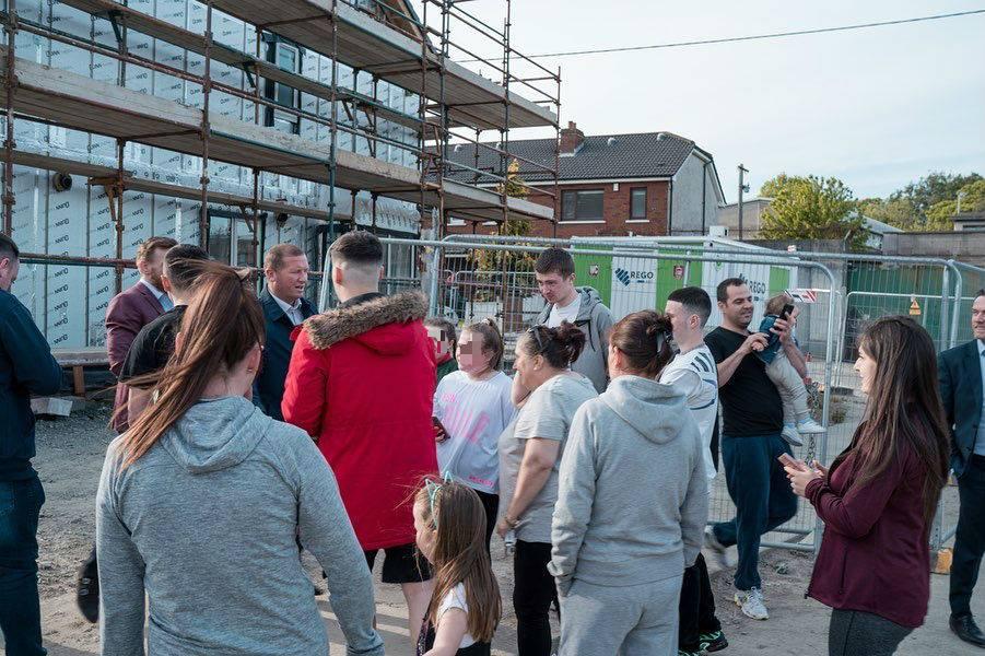 McGregor speaking to families on the housing development. Credit: Facebook